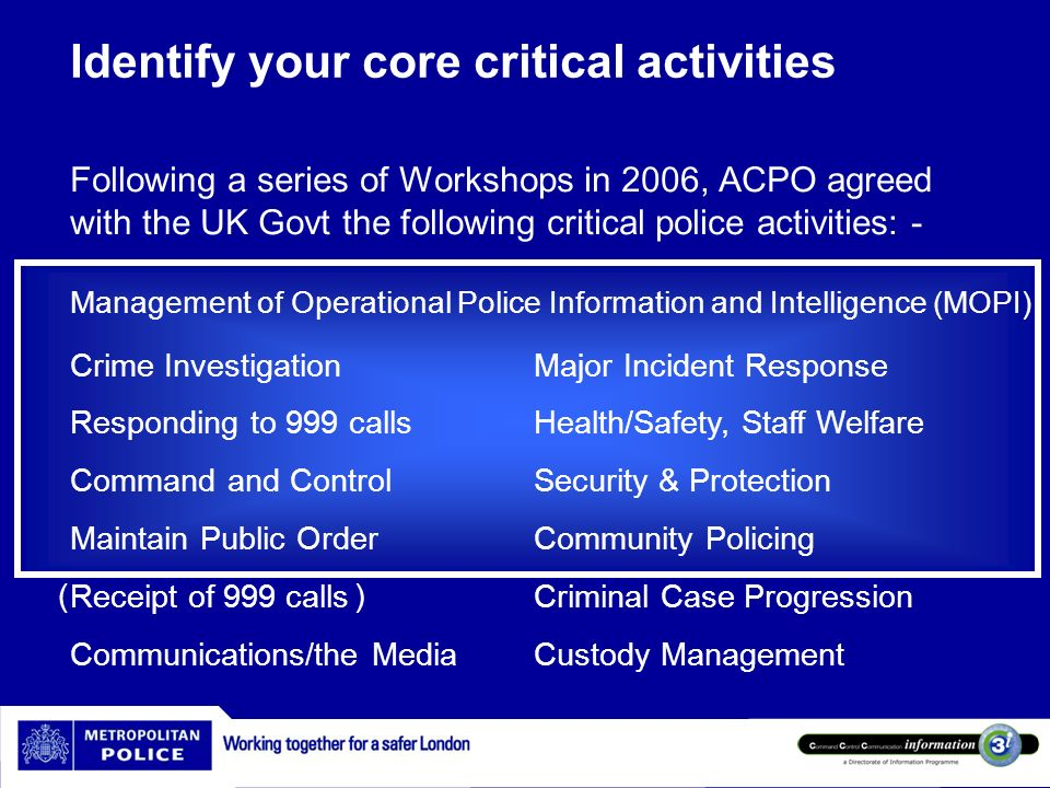 Identify your core critical activities