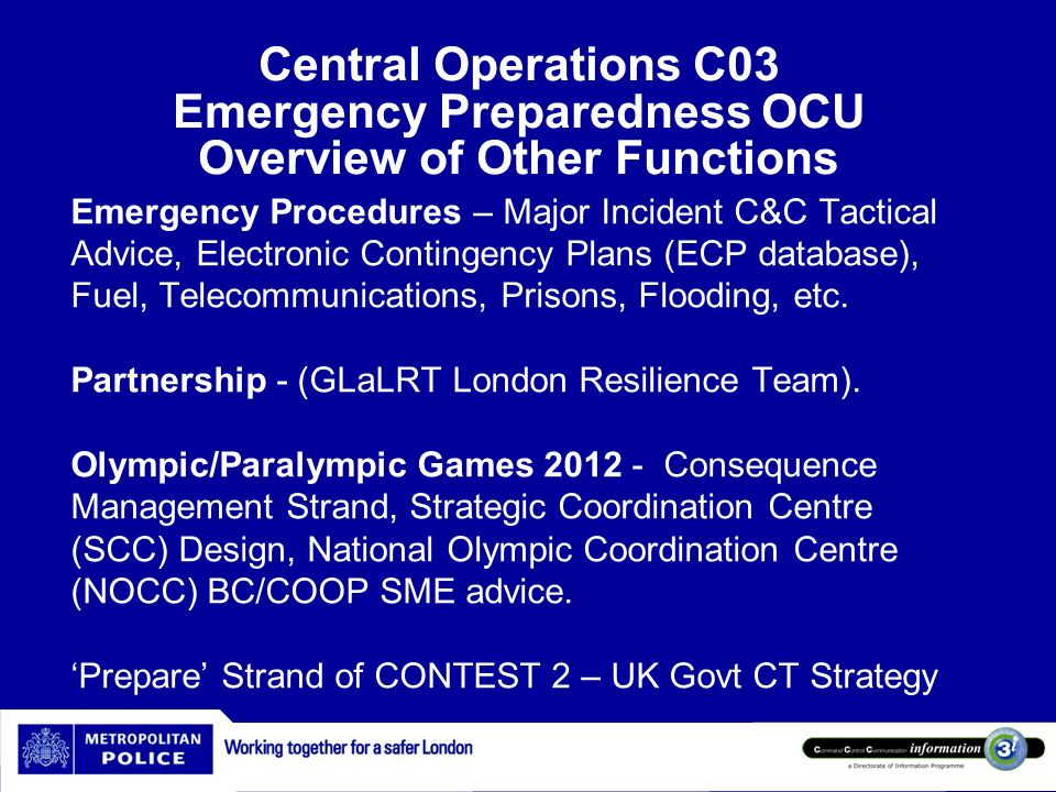 Central Operations C03 Emergency Preparedness OCU Overview of Other Functions