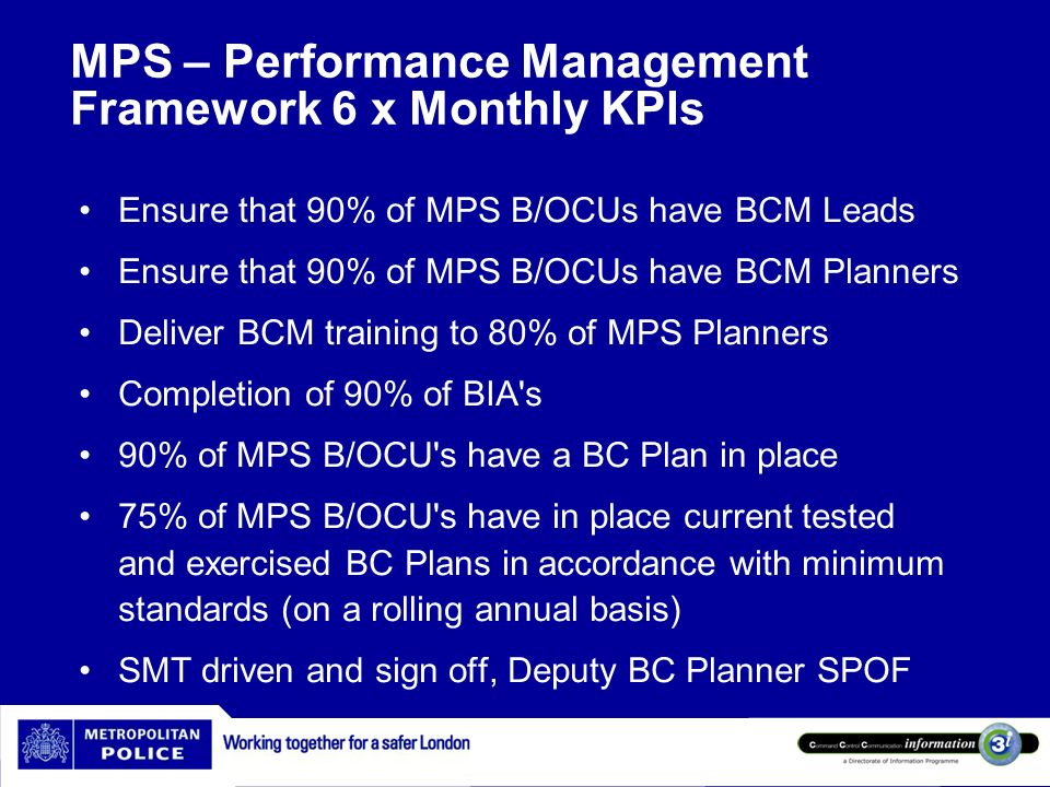 MPS – Performance Management Framework 6 x Monthly KPIs