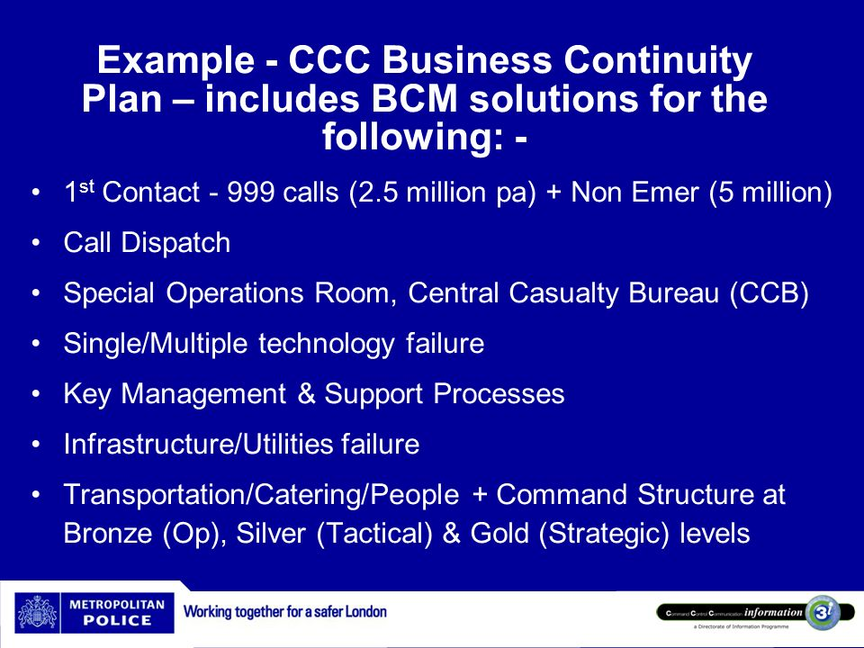 Example - CCC Business Continuity Plan – includes BCM solutions for the following: -