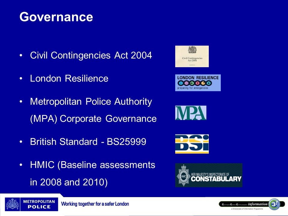Governance Civil Contingencies Act 2004 London Resilience