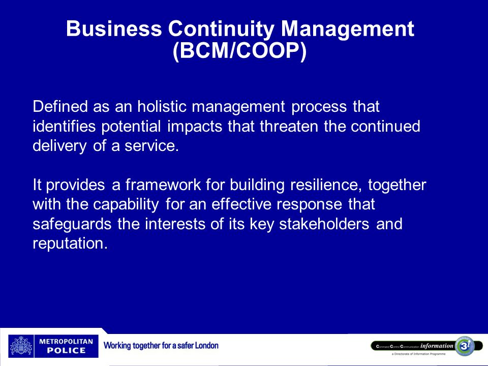 Business Continuity Management (BCM/COOP)
