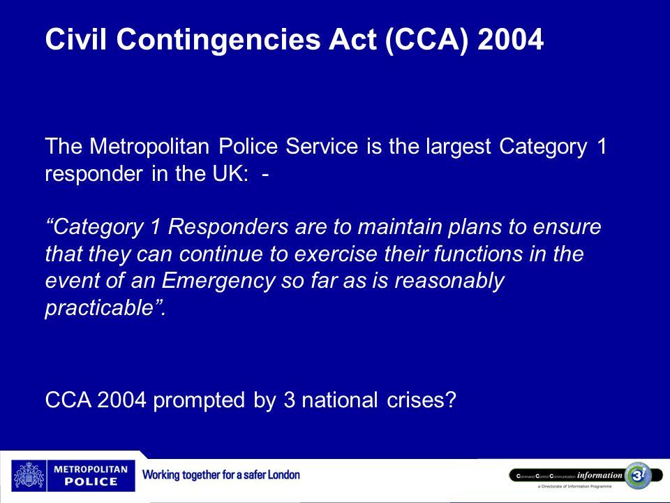 Civil Contingencies Act (CCA) 2004