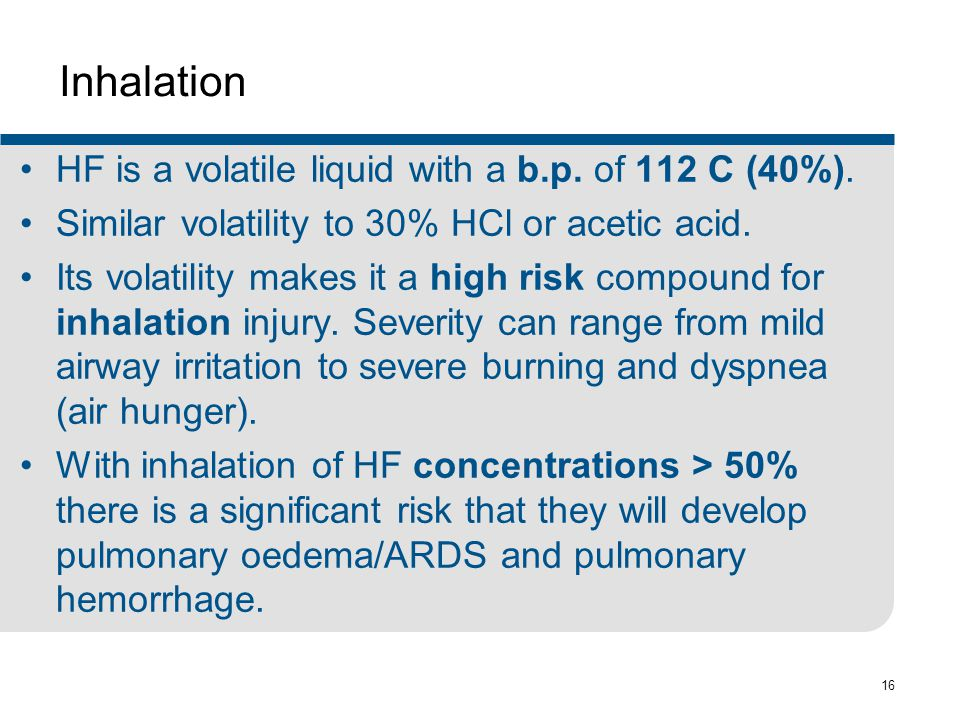 Inhalation HF is a volatile liquid with a b.p. of 112 C (40%).