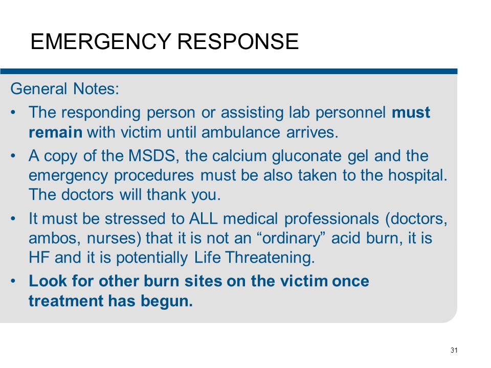 EMERGENCY RESPONSE General Notes: