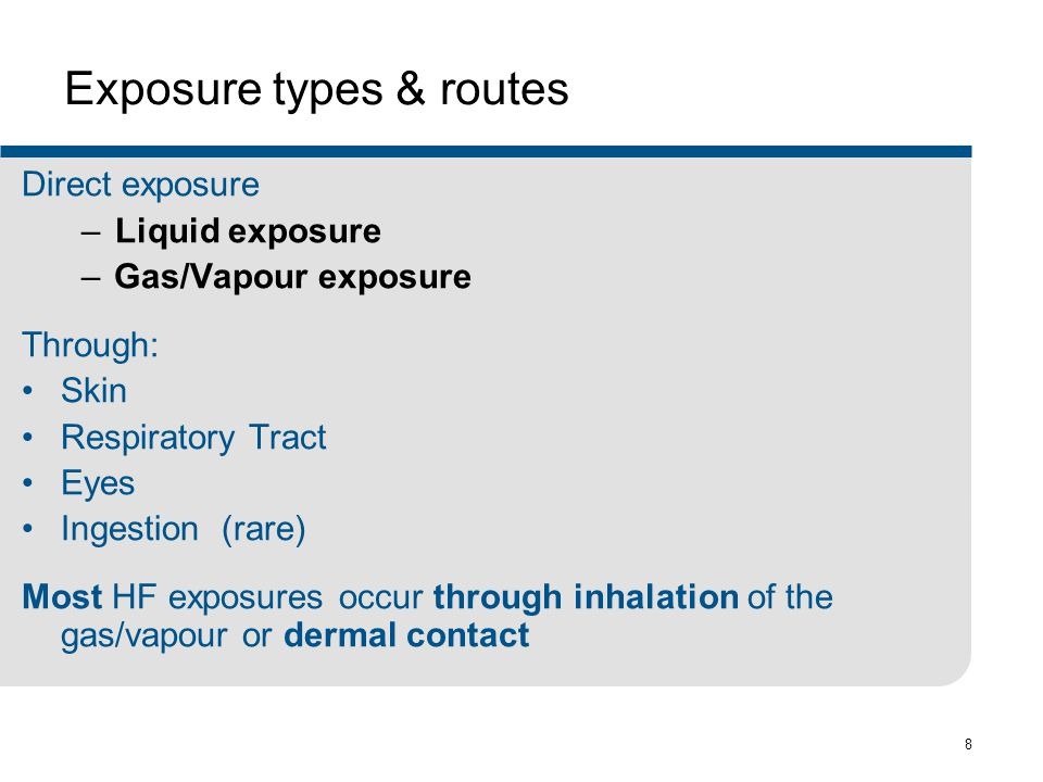 Exposure types & routes