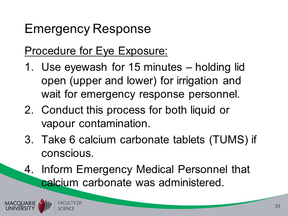 Emergency Response Procedure for Eye Exposure: