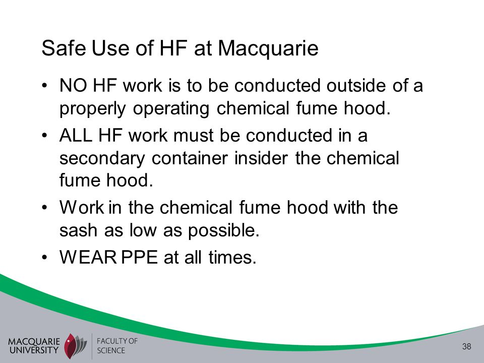 Safe Use of HF at Macquarie