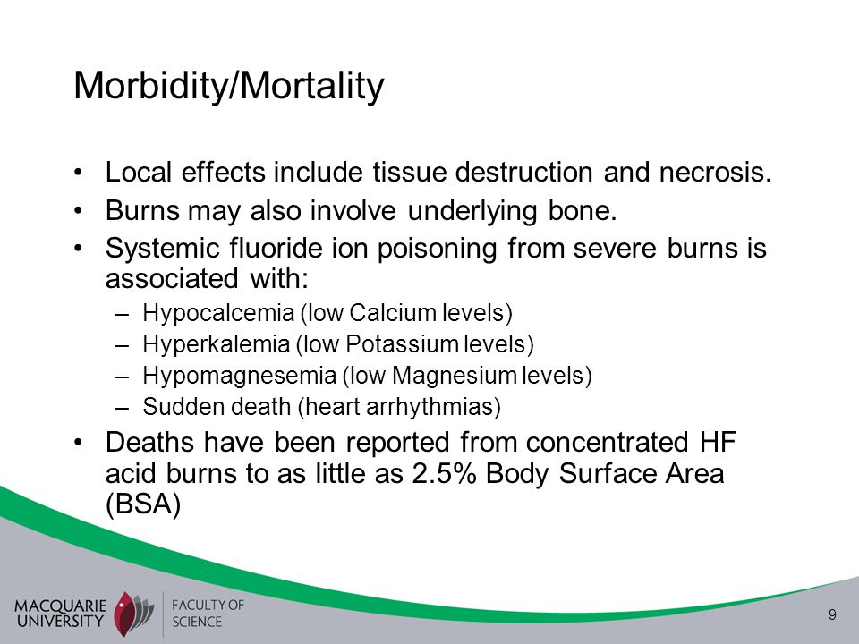 Morbidity/Mortality Local effects include tissue destruction and necrosis. Burns may also involve underlying bone.