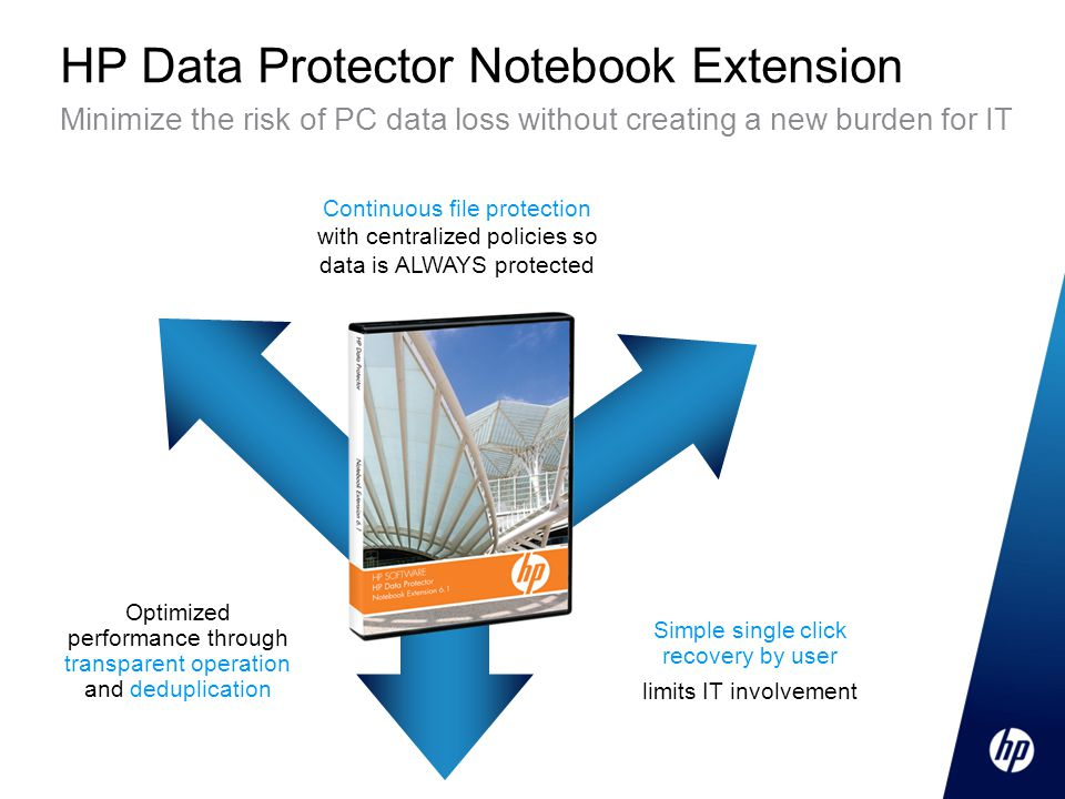 HP Data Protector Notebook Extension Minimize the risk of PC data loss without creating a new burden for IT