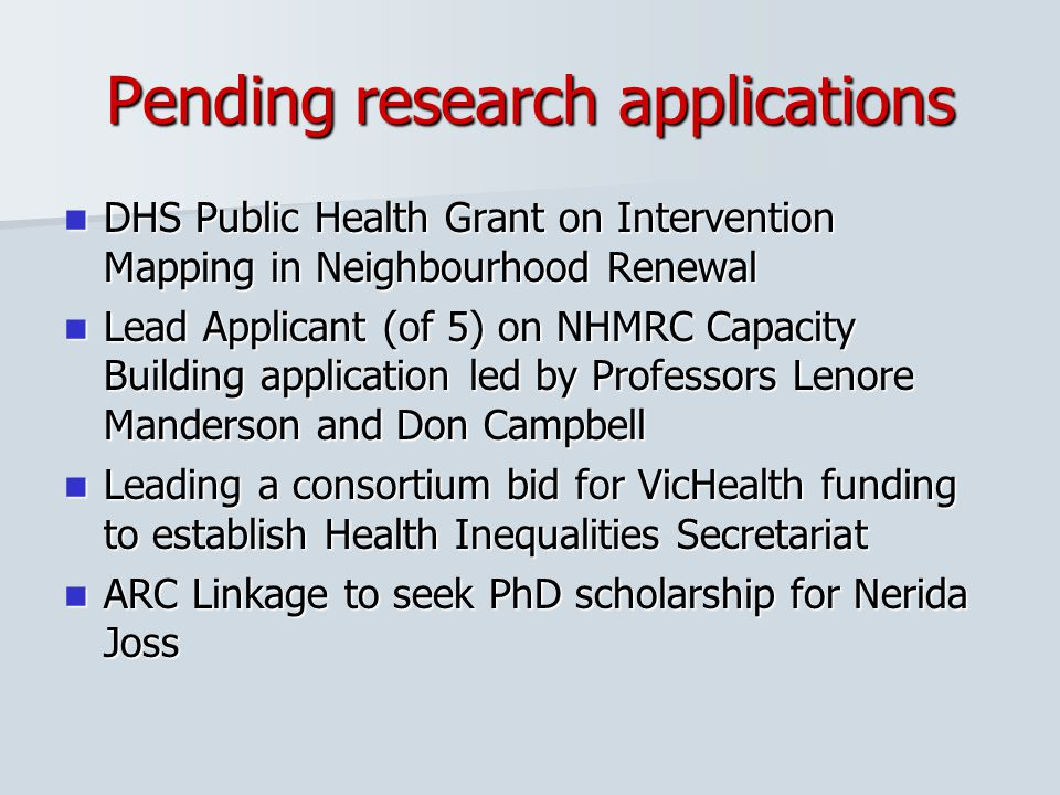 Pending research applications