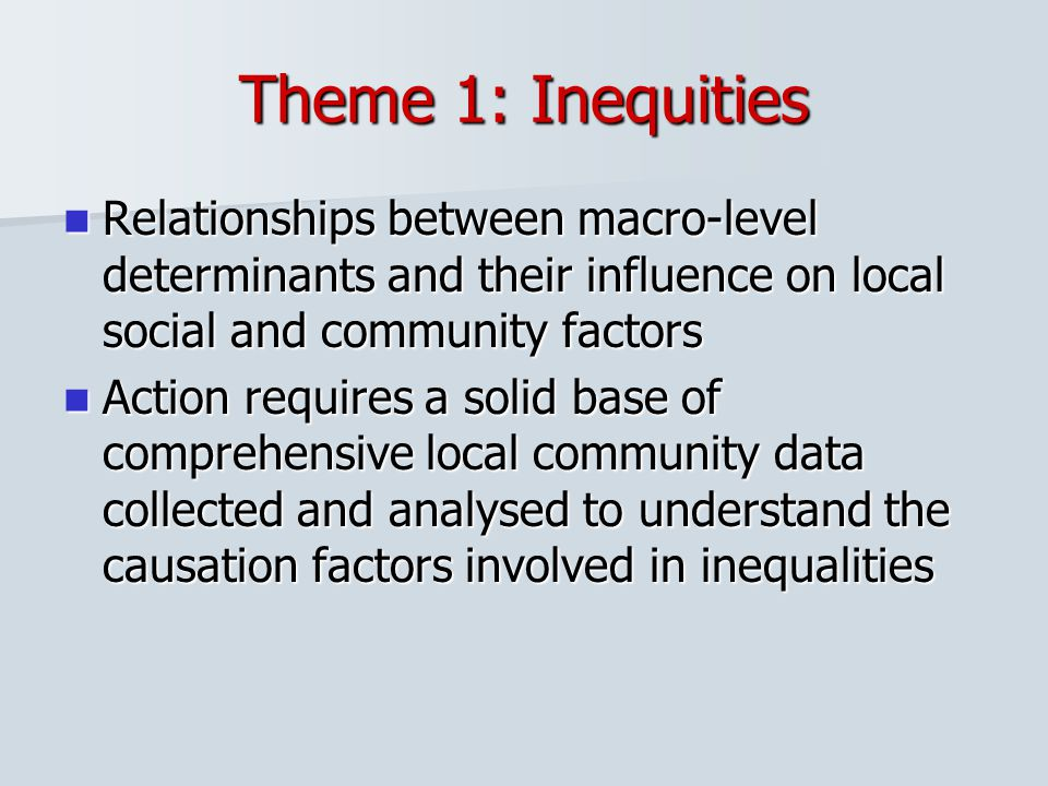 Theme 1: Inequities Relationships between macro-level determinants and their influence on local social and community factors.