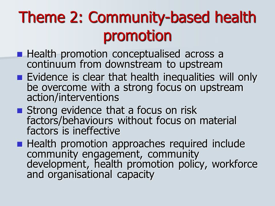 Theme 2: Community-based health promotion