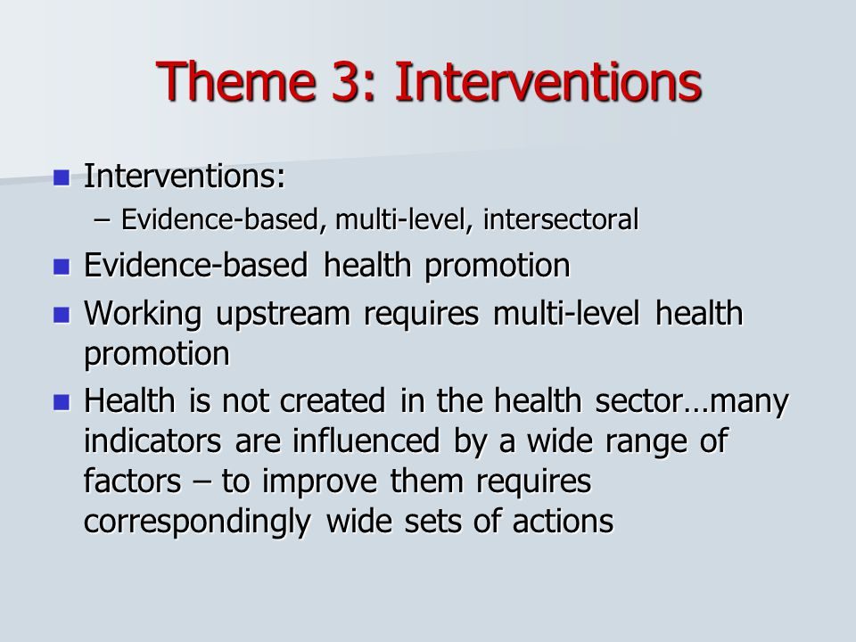 Theme 3: Interventions Interventions: Evidence-based health promotion