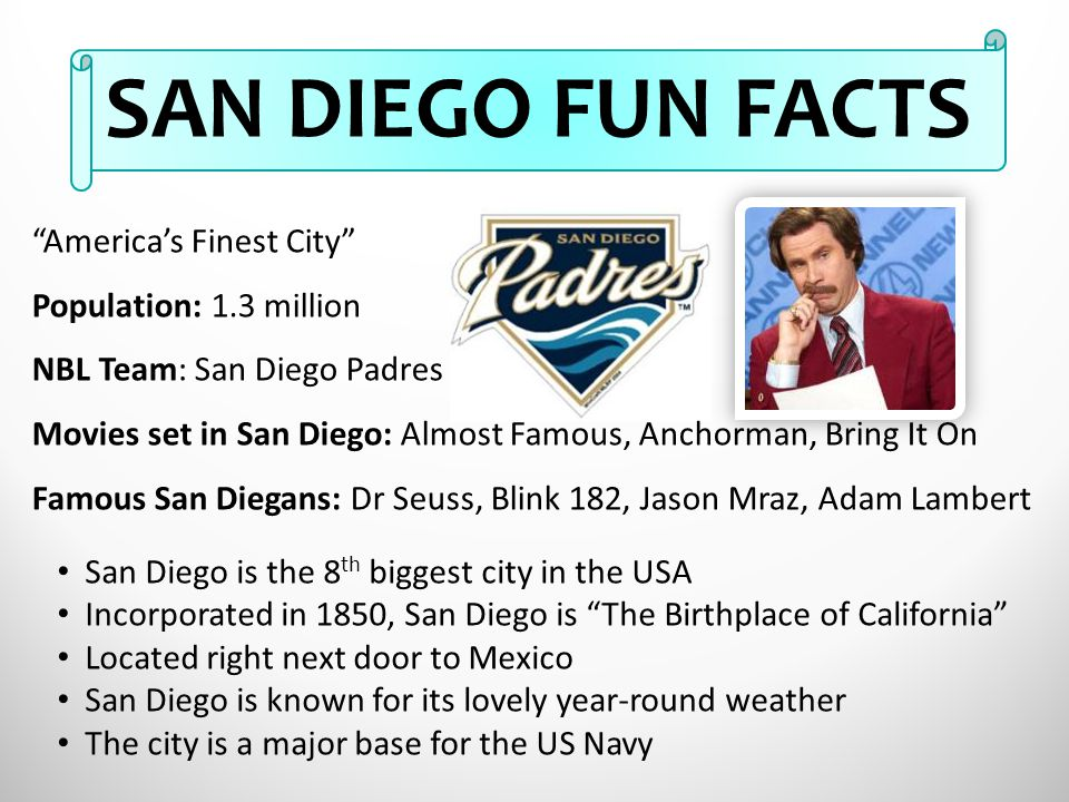SAN DIEGO FUN FACTS America's Finest City Population: 1.3 million