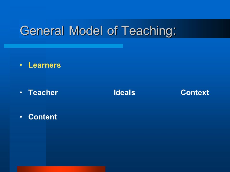 General Model of Teaching: