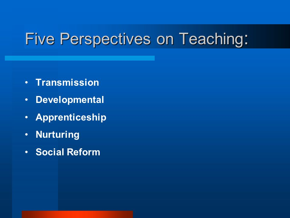 Five Perspectives on Teaching:
