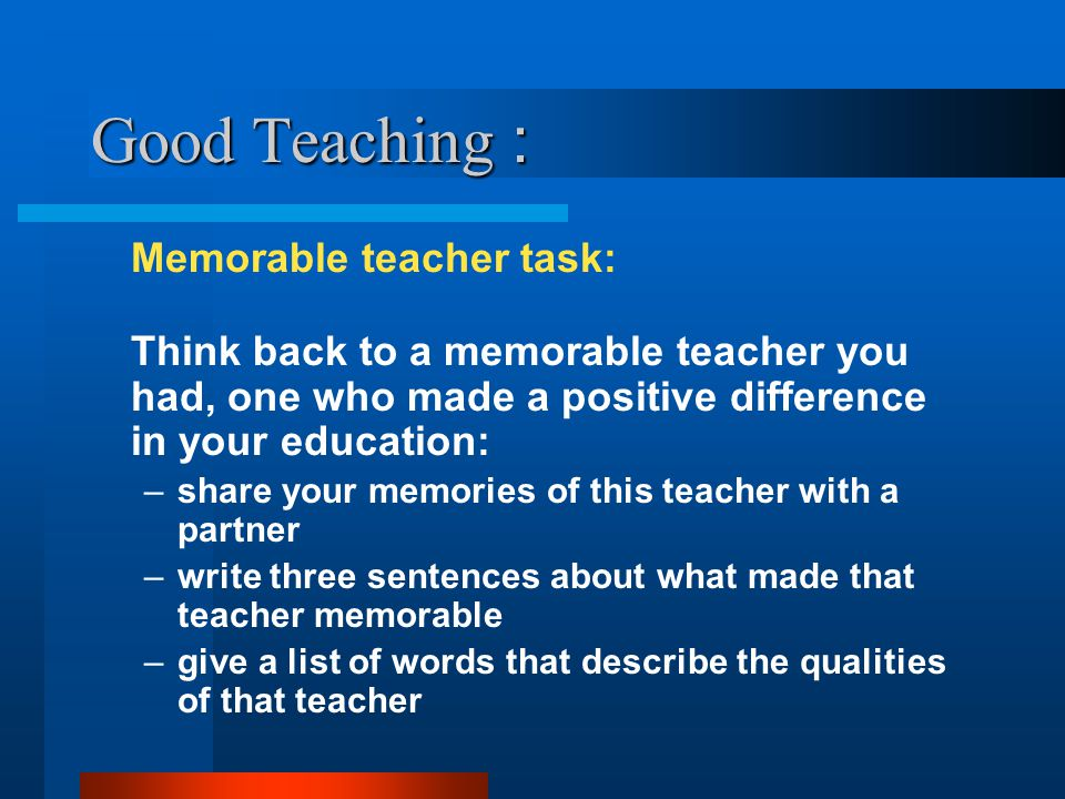 description of a good teacher