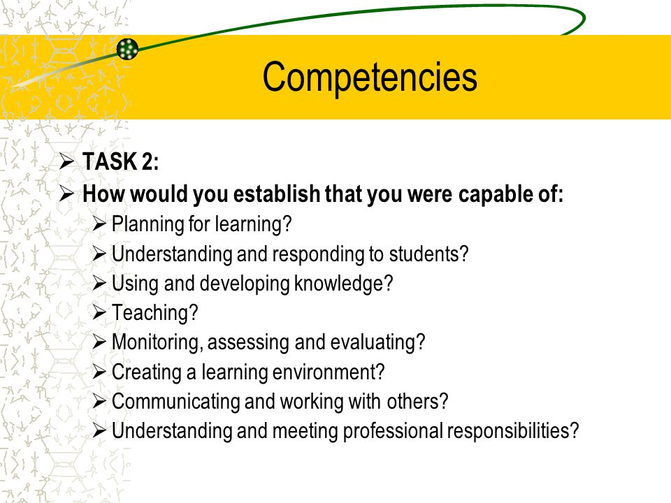 Competencies TASK 2: How would you establish that you were capable of: