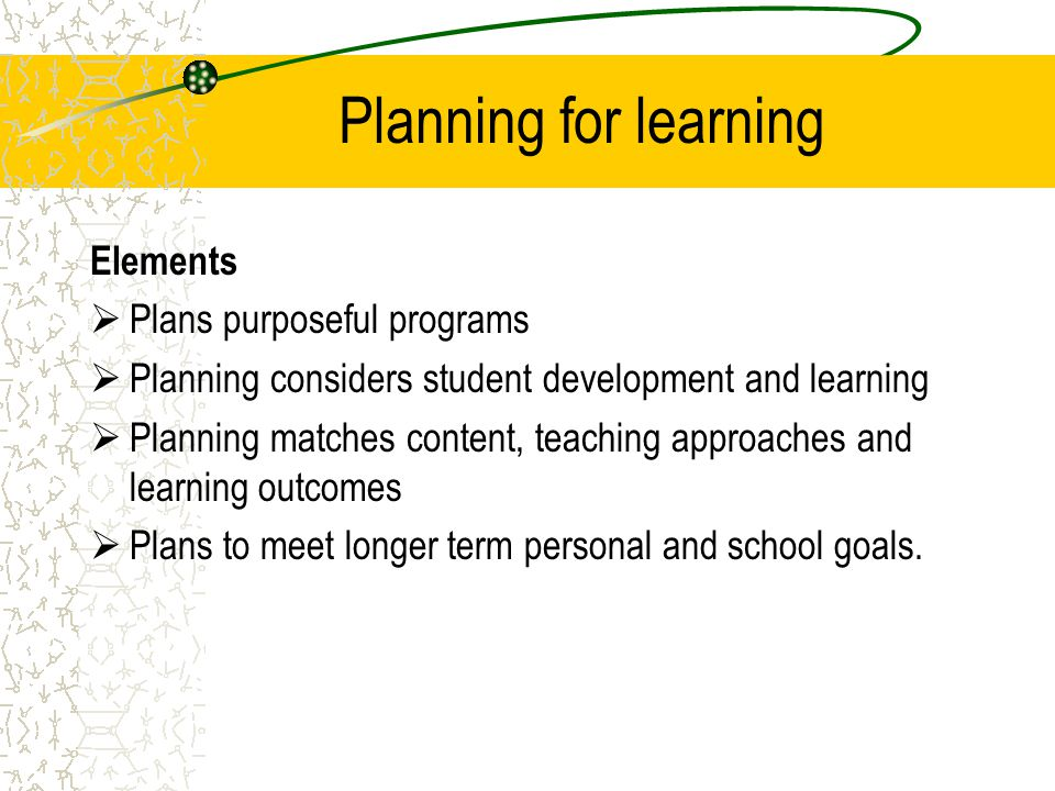 Planning for learning Elements Plans purposeful programs