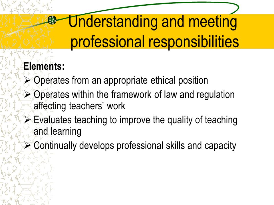 Understanding and meeting professional responsibilities