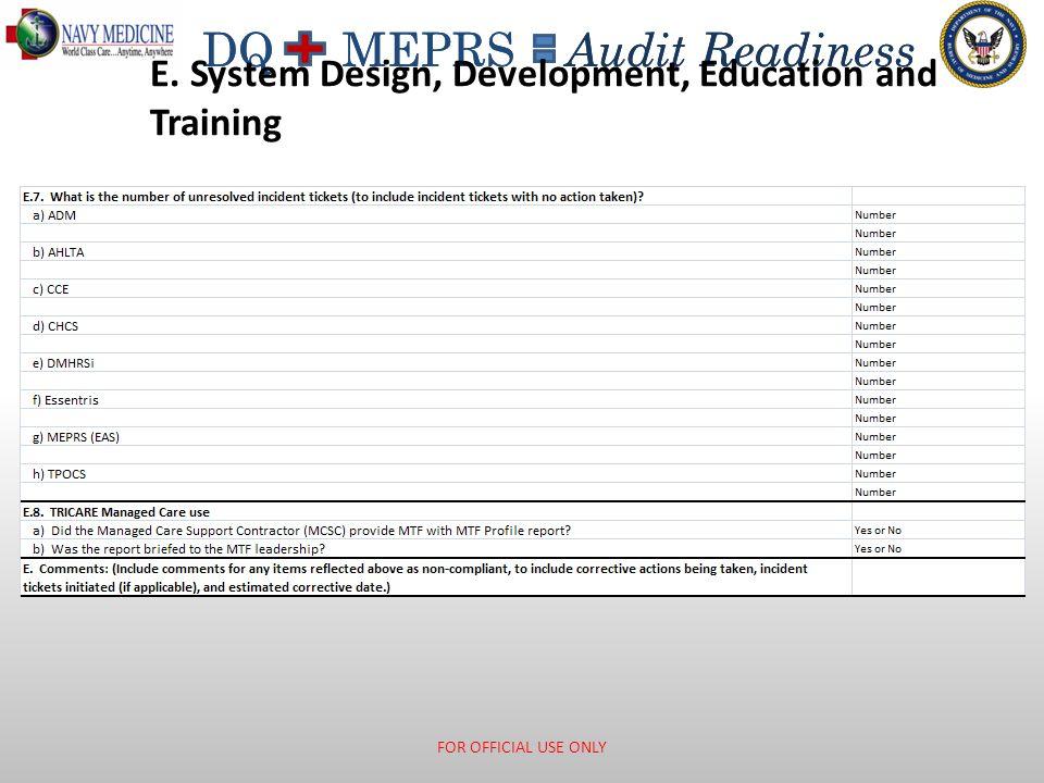 E. System Design, Development, Education and Training