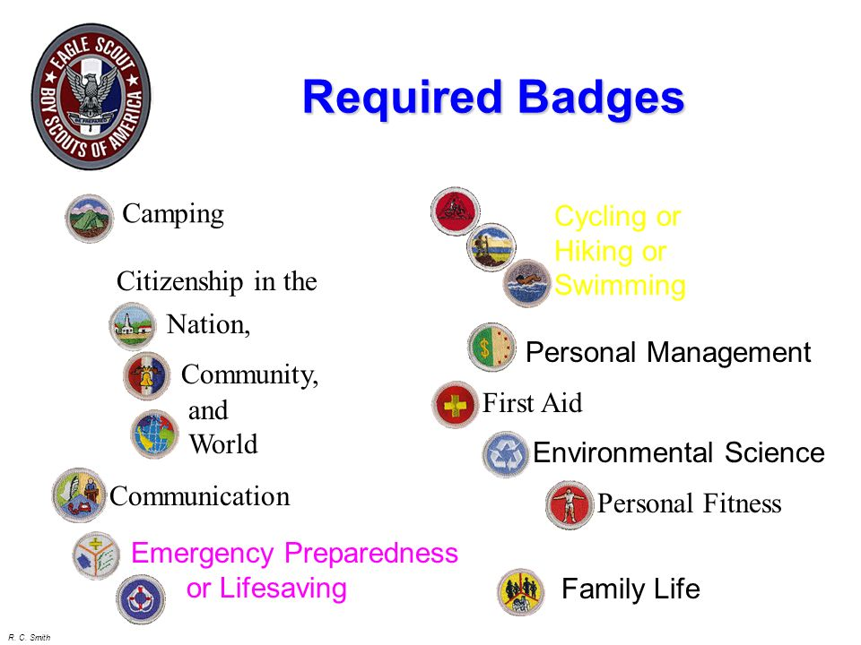 Required Badges Camping Cycling or Hiking or Swimming