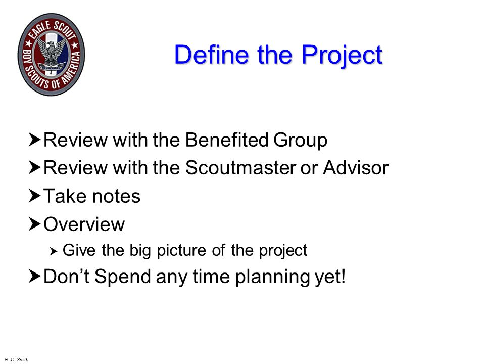 Define the Project Review with the Benefited Group