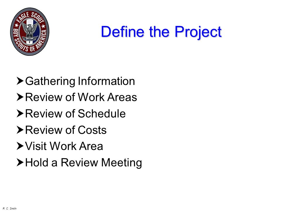 Define the Project Gathering Information Review of Work Areas