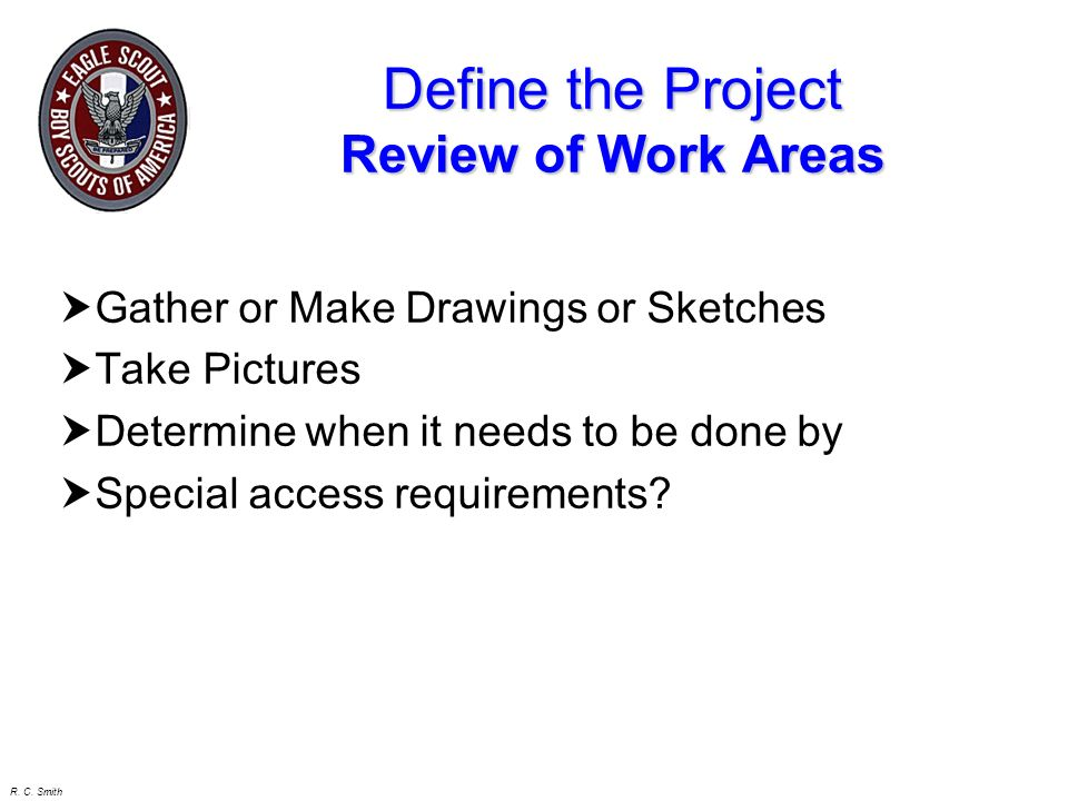 Define the Project Review of Work Areas