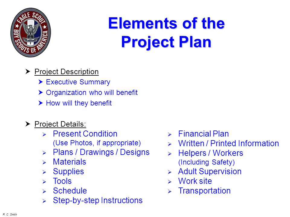 Elements of the Project Plan