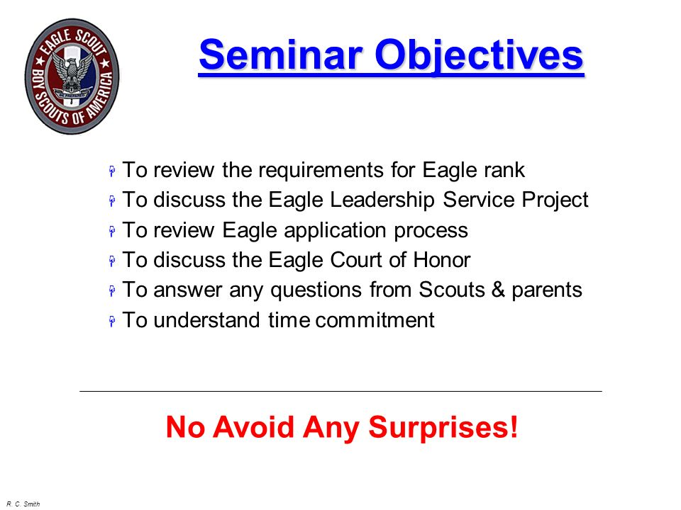 Seminar Objectives No Avoid Any Surprises!
