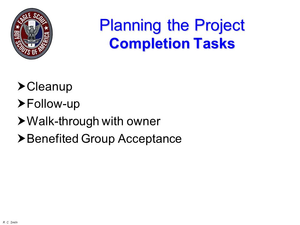 Planning the Project Completion Tasks