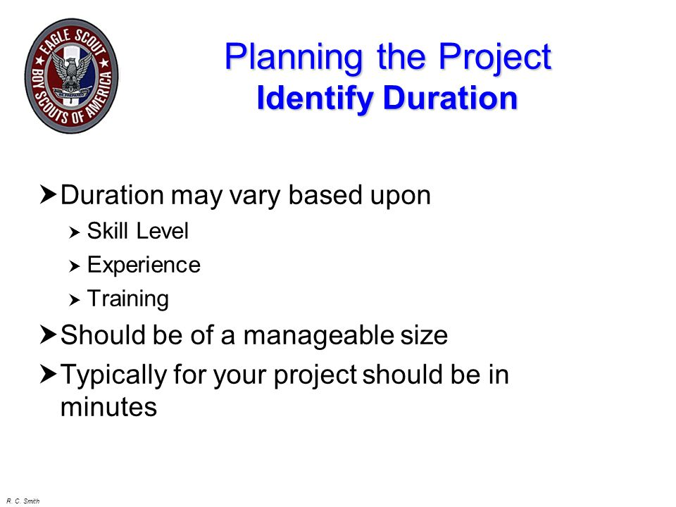 Planning the Project Identify Duration