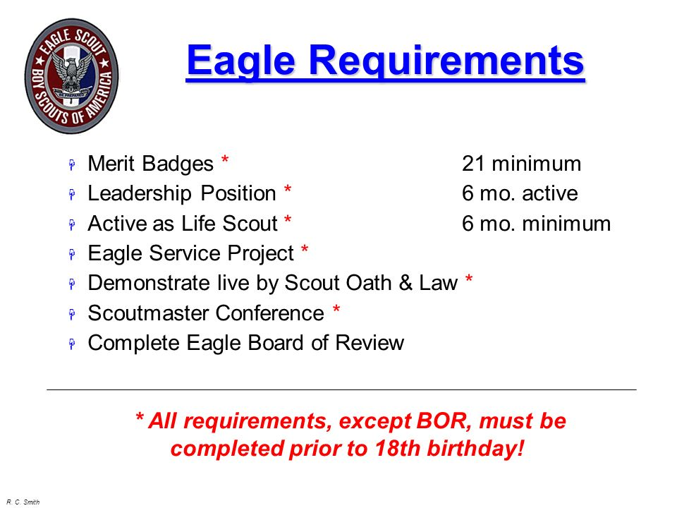 Eagle Requirements Merit Badges * 21 minimum. Leadership Position * 6 mo. active. Active as Life Scout * 6 mo. minimum.