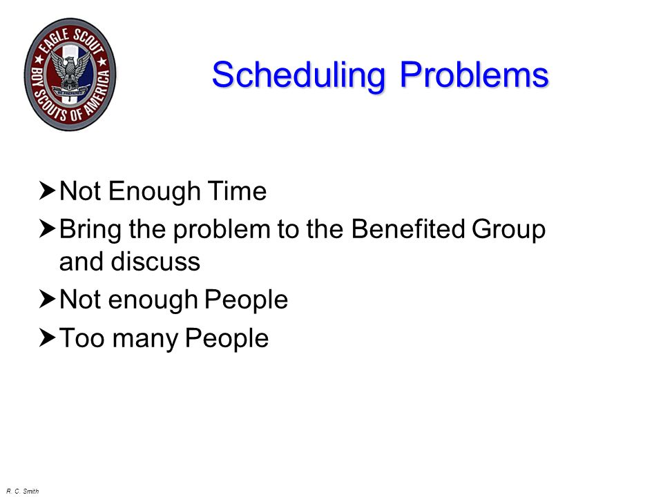 Scheduling Problems Not Enough Time