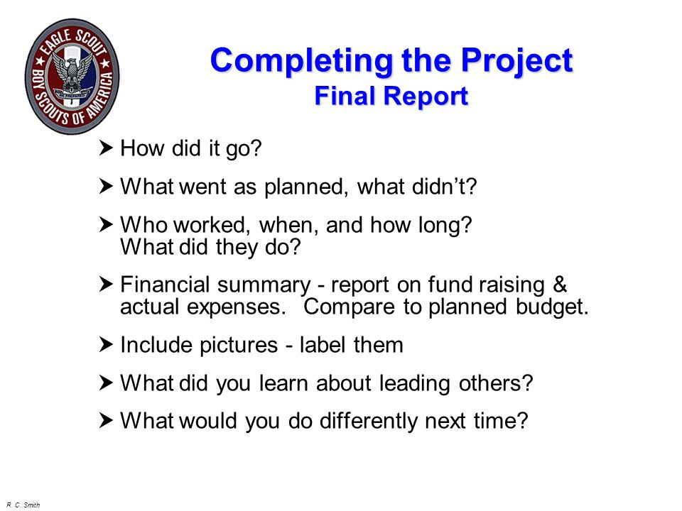 Completing the Project Final Report