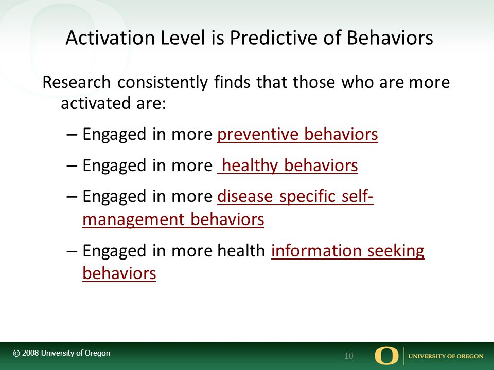 Activation Level is Predictive of Behaviors