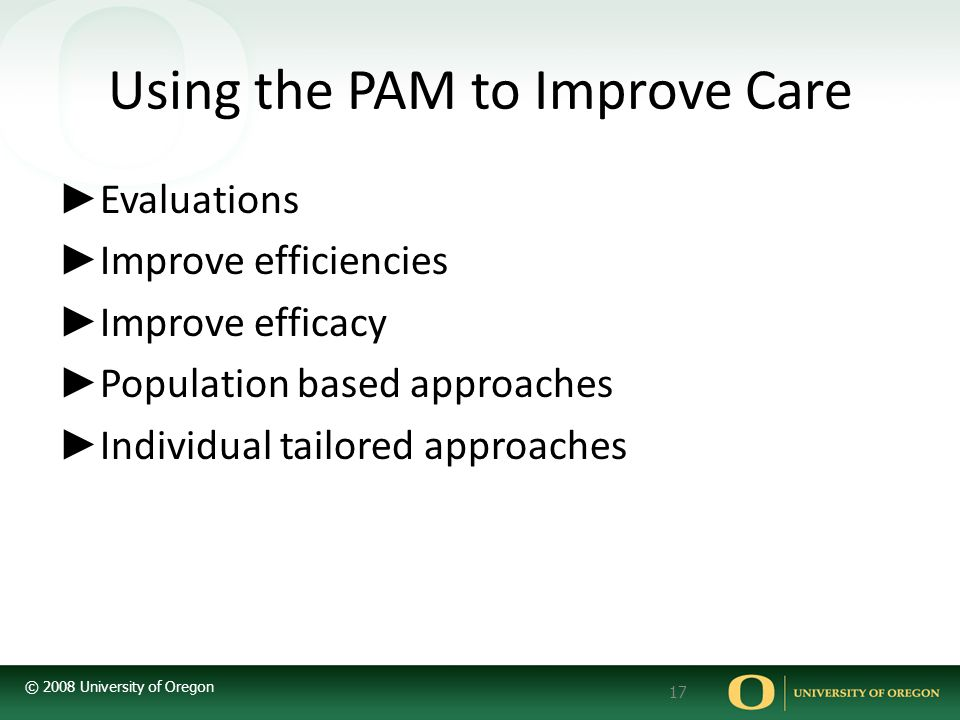 Using the PAM to Improve Care