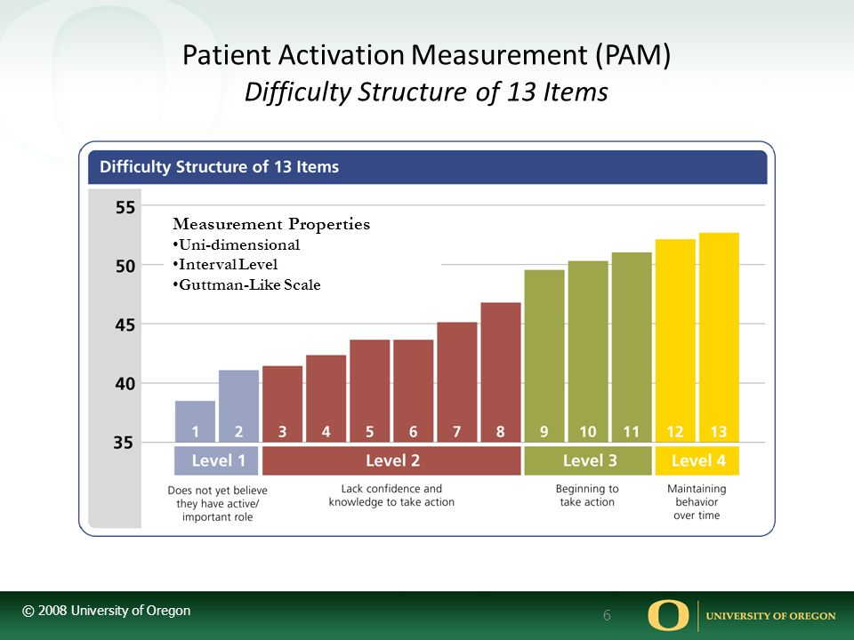 Patient Activation Measurement (PAM) Difficulty Structure of 13 Items