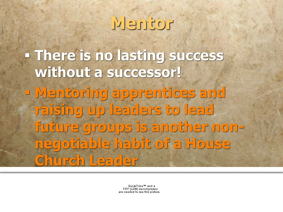 Mentor There is no lasting success without a successor!
