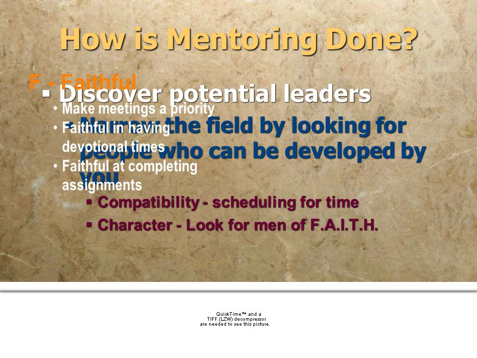 How is Mentoring Done Discover potential leaders F - Faithful