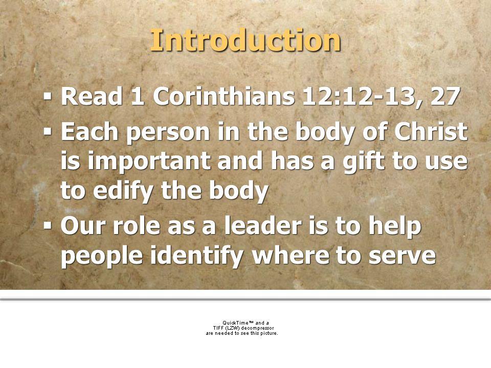 Introduction Read 1 Corinthians 12:12-13, 27