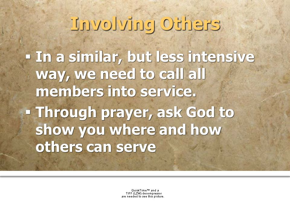 Involving Others In a similar, but less intensive way, we need to call all members into service.