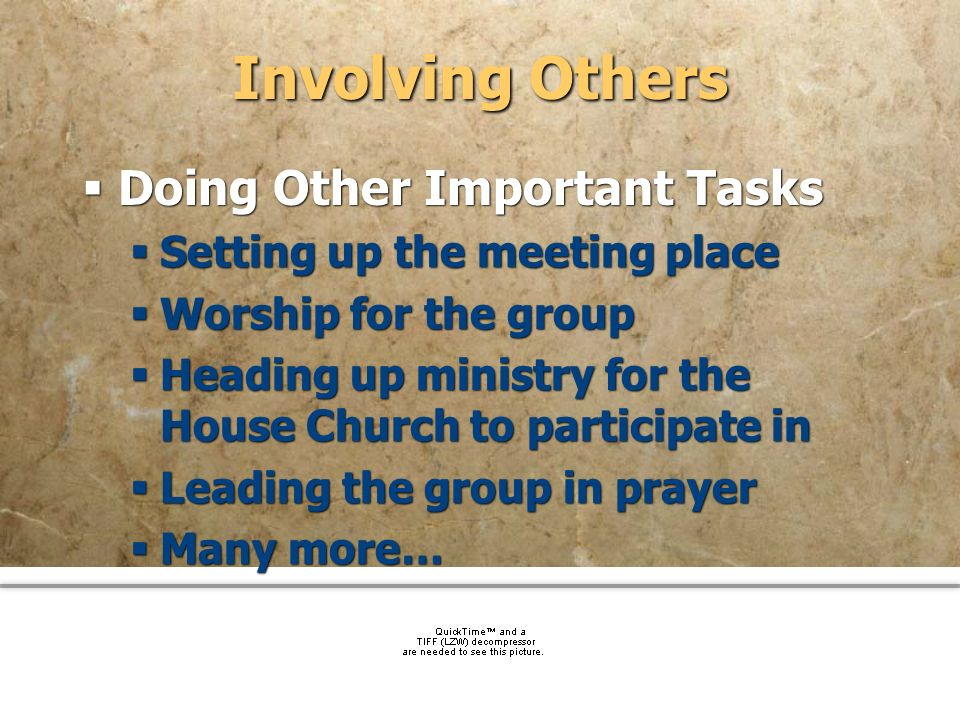 Involving Others Doing Other Important Tasks