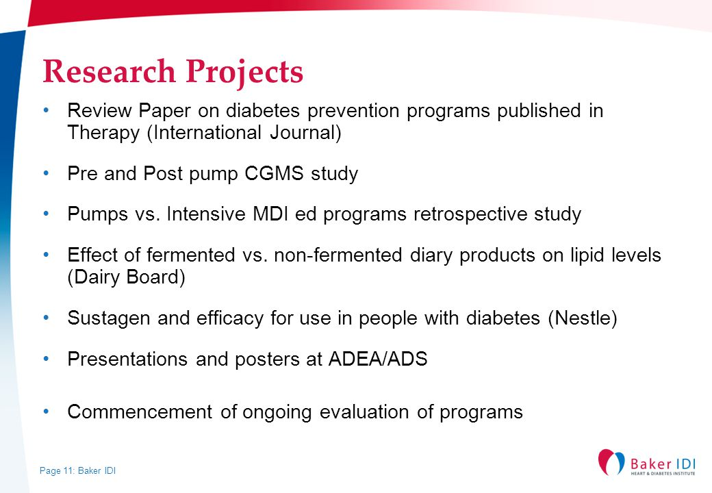 Research Projects Review Paper on diabetes prevention programs published in Therapy (International Journal)