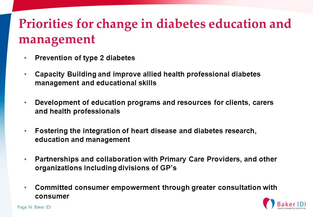 Priorities for change in diabetes education and management
