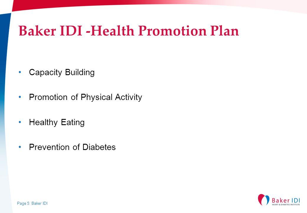 Baker IDI -Health Promotion Plan
