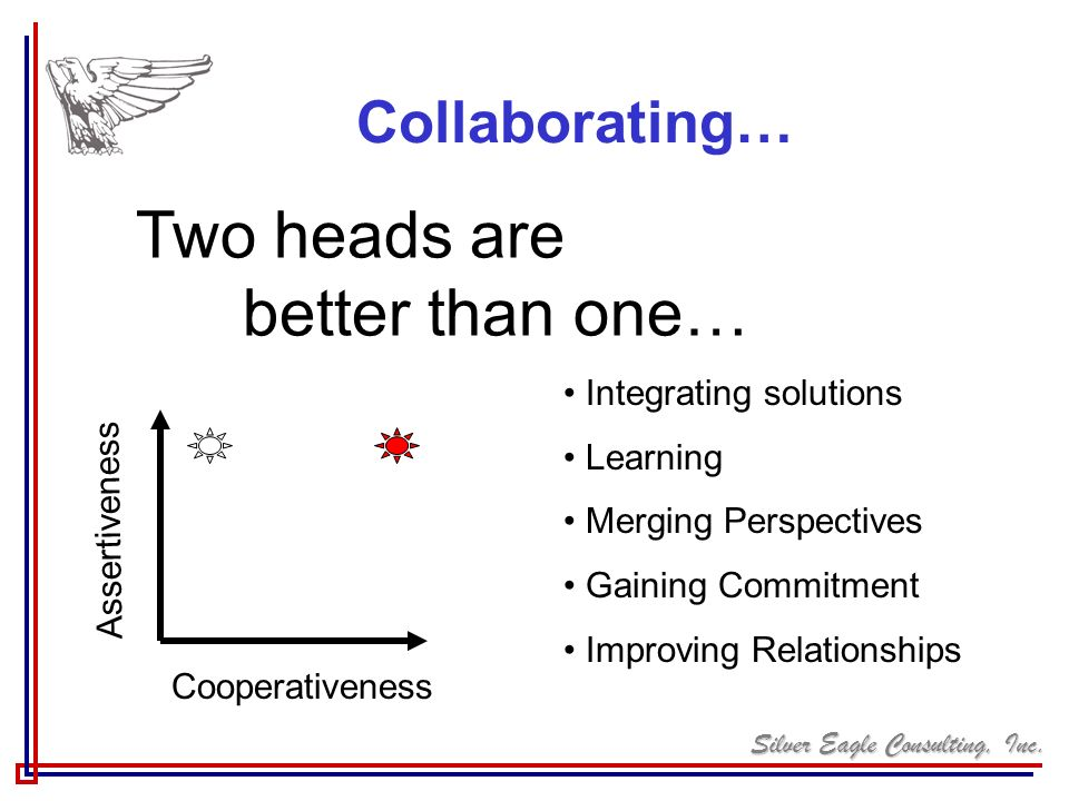 Two heads are better than one… Collaborating… Integrating solutions