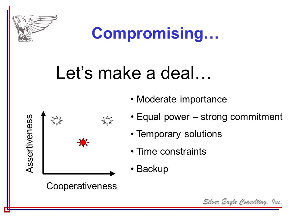Let's make a deal… Compromising… Moderate importance